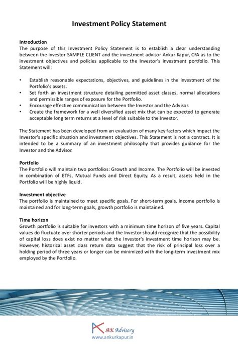 investment policy statement template investment policy statement