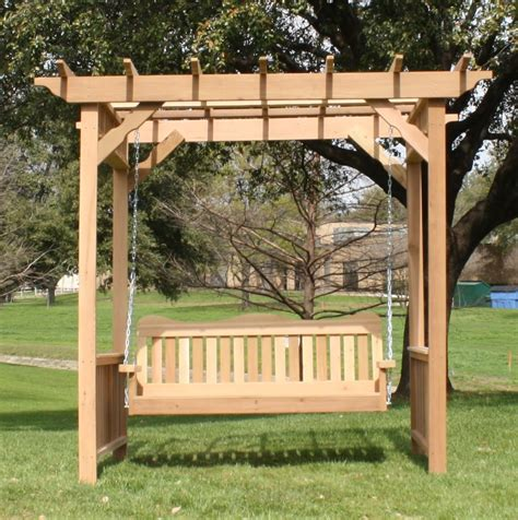 porch swing arbor tmp outdoor furniture decorative red cedar deluxe arbor