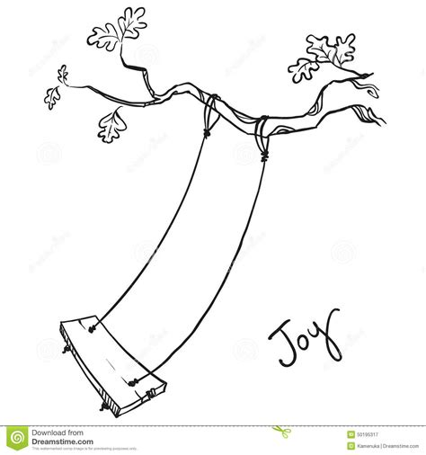 swing illustration tree with a swing stock vector image 50195317