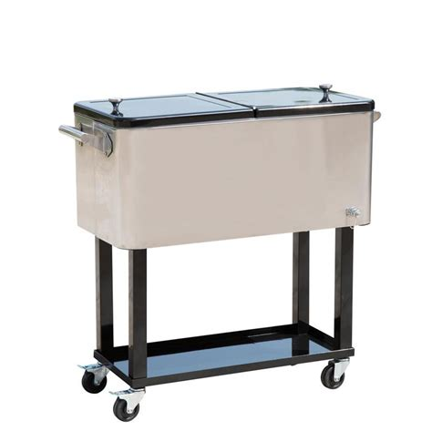 outsunny 80 qt rolling chest portable patio