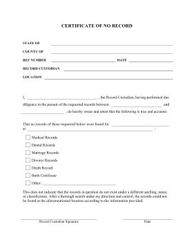 Certification Of Records Template by Printable Certification Of No Record Pleading Template