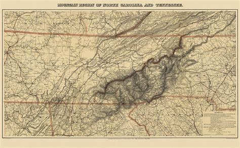map tennessee carolina antique map of the great smoky mountains carolina