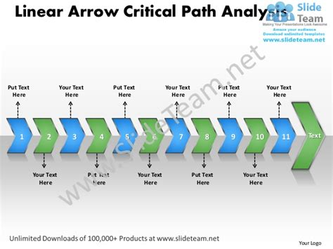 ppt linear arrow critical path analysis business power