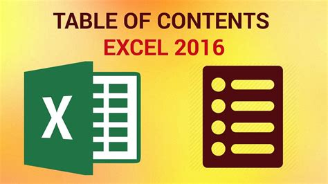 how to create a table in excel 2016 how to create a table of contents in excel 2016