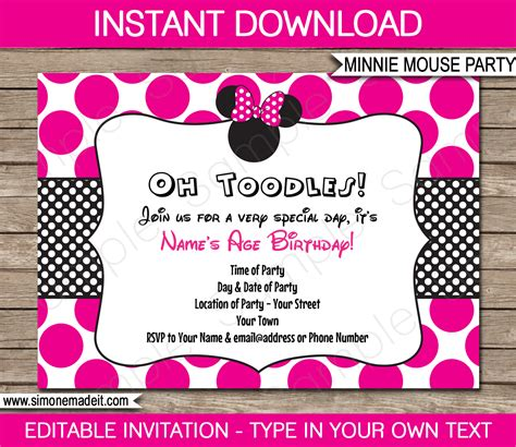 Minnie Mouse Party Invitations Template Birthday Party Minnie Mouse 2nd Birthday Invitations Template