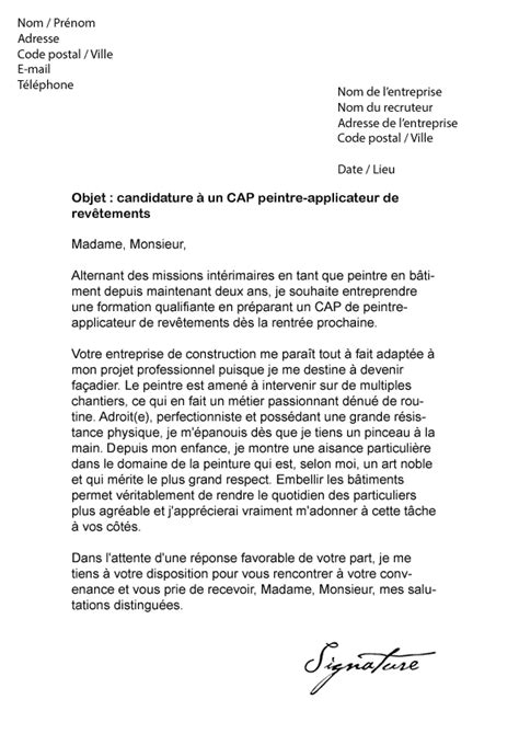 Lettre De Motivation De Peintre En Batiment Lettre De Motivation Cap Peintre Applicateur Mod 232 Le De