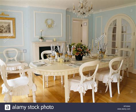 Painted Cream Table And Chairs With White Cushions In White Painted Dining Table And Chairs