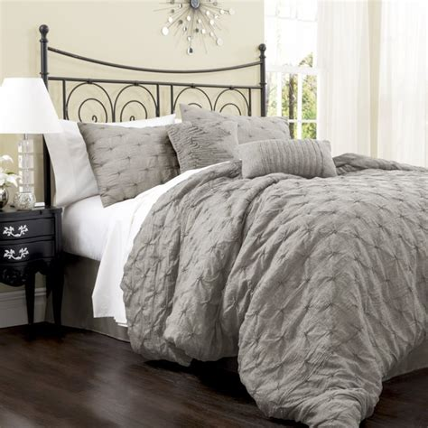 Modern Comforter Set by Lush Decor Lake Como 4 Comforter Set Gray