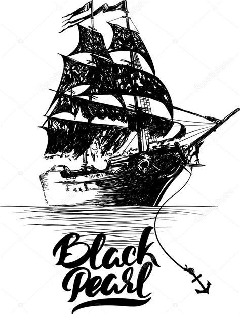 Auto Aufkleber Black Pearl by Piratenschiff Vektor Illustration Von Hand Gezeichnet
