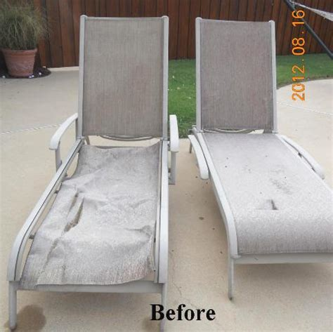 chaise lounge chair replacement fabric agio chaise replacement slings using our chesterfield