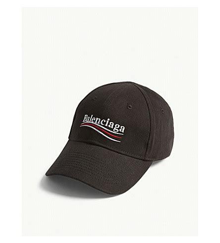balenciaga bernie logo cotton strapback cap selfridges