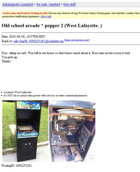 pepper ii arcade game indianapolis craigslist rotheblog