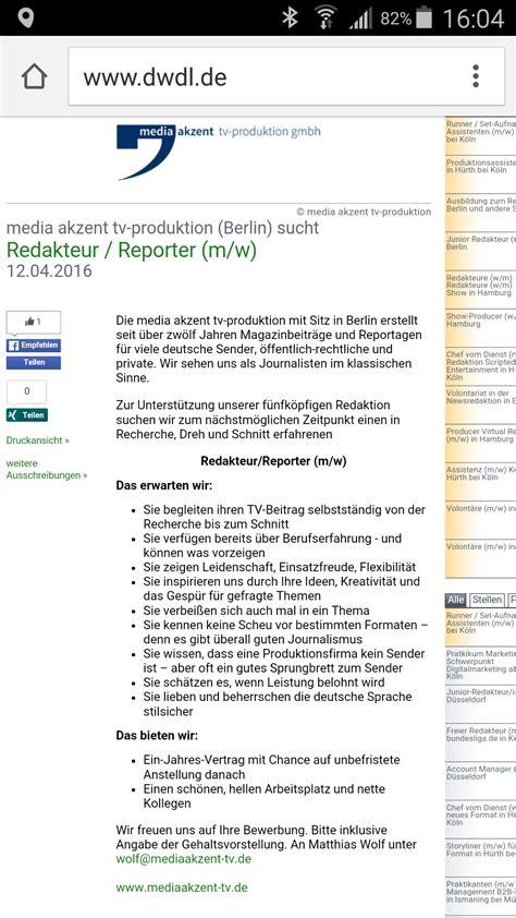 Initiativ Bewerbung Zdf Media Akzent Tv Produktion Gmbh