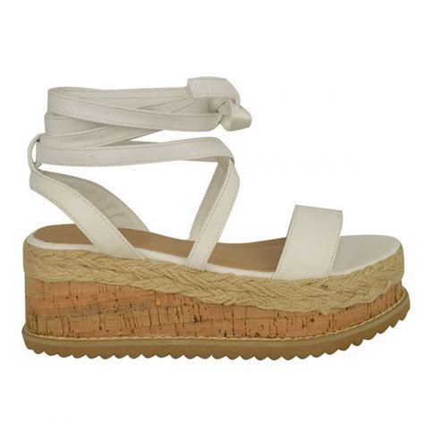 lace wedge sandals white pu leather tie up lace wedge sandals