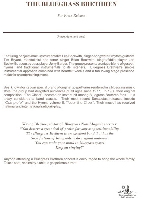 album press release template bluegrass brethren gospel band