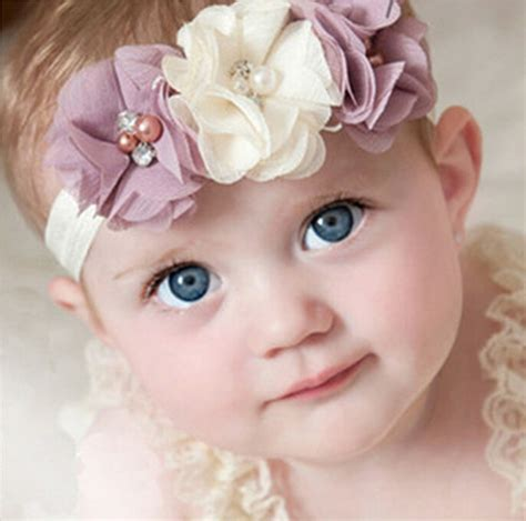 new baby beautiful flower pearl headband 1 pieces newborn baby headband chiffon 3 flower pearl
