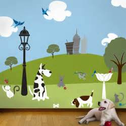 Cat And Dog Wall Mural Stencil Kit For Kids Or Baby Room