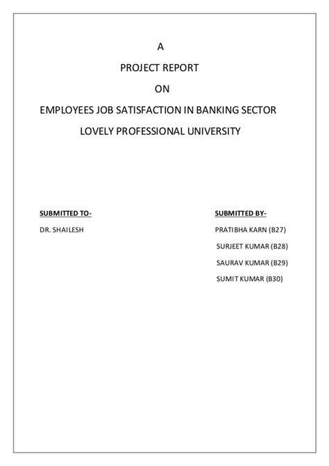 Employee Satisfaction Project Report Mba Ppt by A