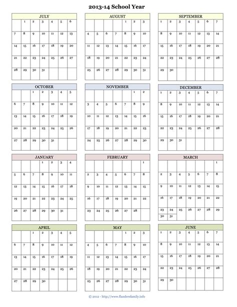 school year calendar template 2013 calendar printable 001a6 yourmomhatesthis