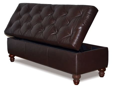 genuine leather storage ottoman king size chesterfield storage bench button tufted