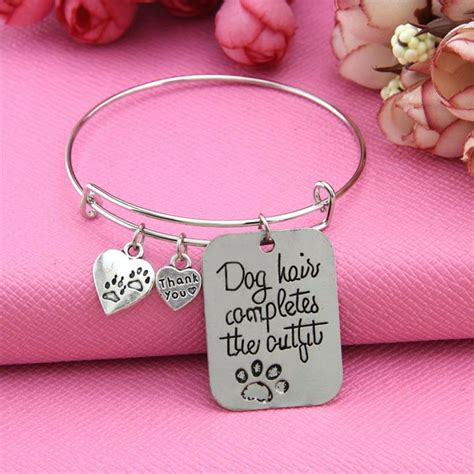 top pet gifts quot dog hair completes the outfit quot bangle top pet gifts
