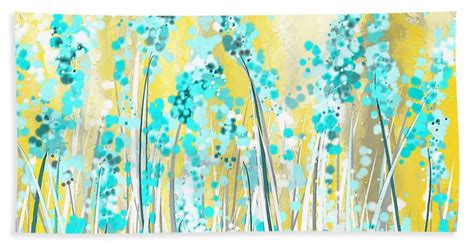 yellow and turquoise garden painting by lourry legarde turquoise and yellow beach towel for sale by lourry legarde