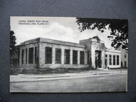 ca1950 patchogue island new york post office postcard