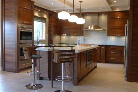 Horizontal Grain Kitchen Cabinets | walnut horizontal grain kitchen contemporary kitchen