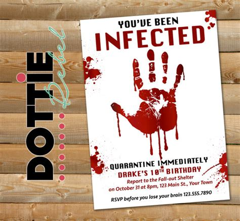printable zombie invitations for a teen zombie party
