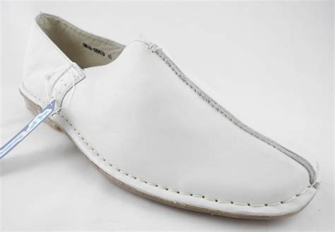 mens leather slip on loafers espadrilles shoes white size