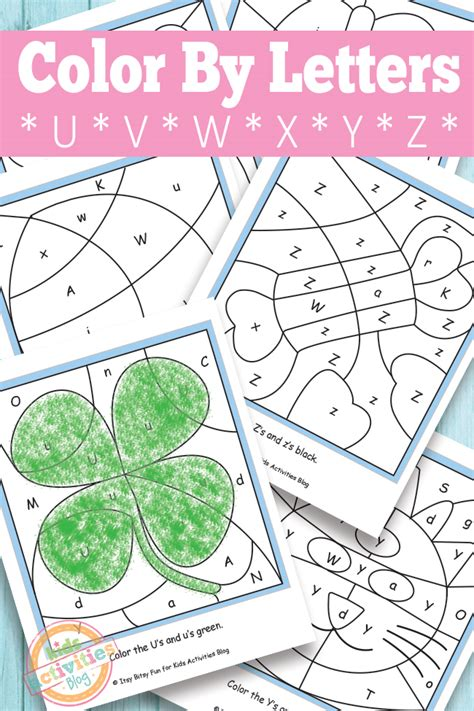 5 letter colors color by letters u v w x y z free printable