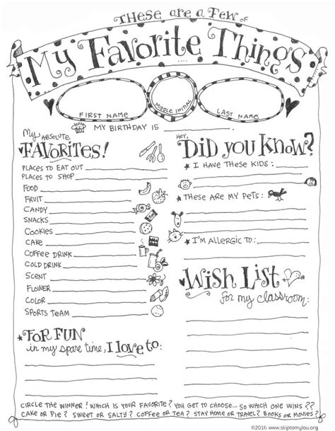 favorite things list template favorite things questionnaire printable skip to