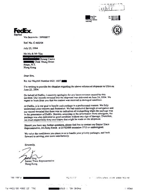 business letter via federal express federal express refuses to pay for insured damaged shipment