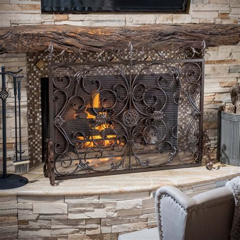 Black Iron Fireplace Screen by Indoor Darcie Copper Brown Finish Wrought Iron Fireplace
