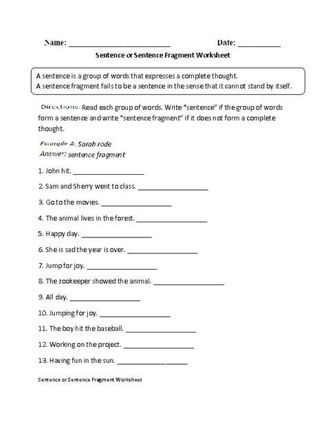 Sentence Fragments Worksheets by Englishlinx Sentence Fragments Worksheets