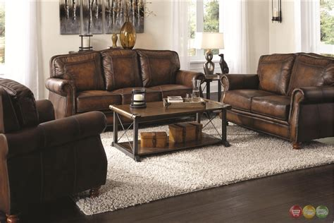 Real Leather Sofa Sets with Montbrook Traditional Brown Genuine Leather Sofa Set Rolled Arms Nail Trim