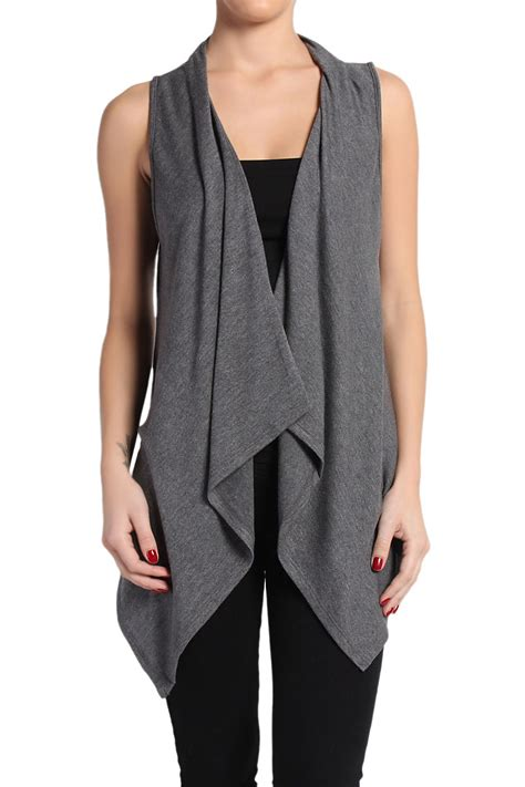 sleeveless draped cardigan themogan sleeveless draped open front knit sweater