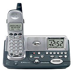 at t e2120 2 4ghz cordless phone with clockradio and caller idcall waiting silvergray by office
