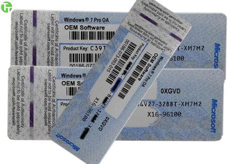 Windows Xp Coa Lisensi Original coa license sticker windows 7 pro pack windows 8 1 product