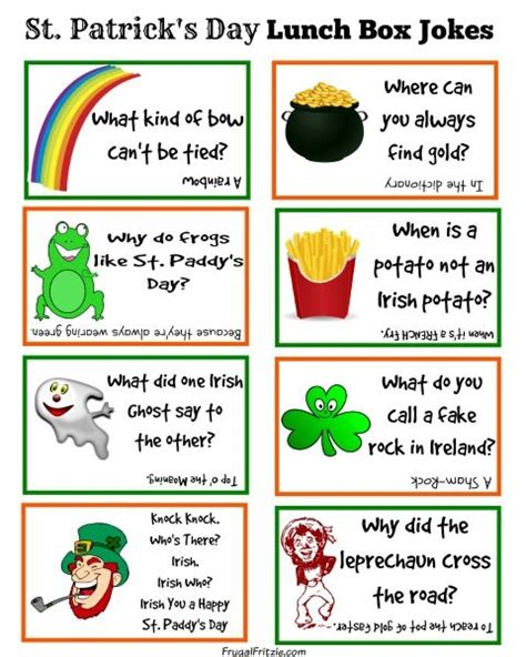 Printable One Liner Jokes | free printable st patrick s day kids lunch box jokes