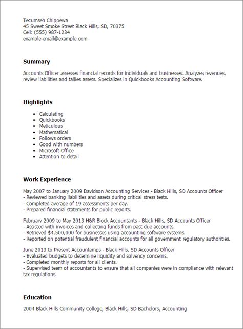 H Resume Exle by 1 Accounts Officer Resume Templates Try Them Now