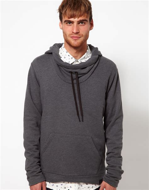 So Sweat Cowl Grey diesel hooded sweat cowl neck serial in gray for grey lyst