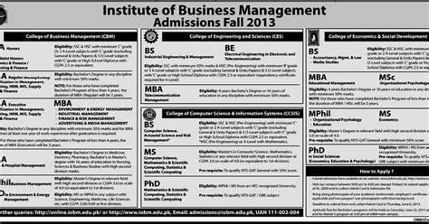 Bs Mba Ms iobm institute of business management admissions 2013 in