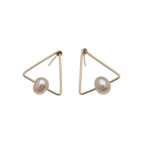 Pearl Triangle Earring triangle pearl earrings by dynasty jewellery