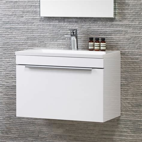 White Wall Hung Vanity by Cypher Designer White Gloss Wall Hung Vanity Unit 600mm