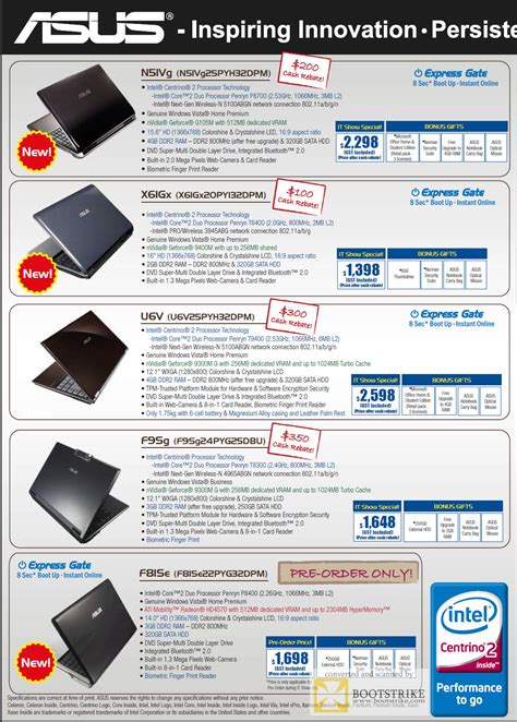 Asus Laptop Netbook Price asus laptops 2 it show 2009 price list brochure flyer image
