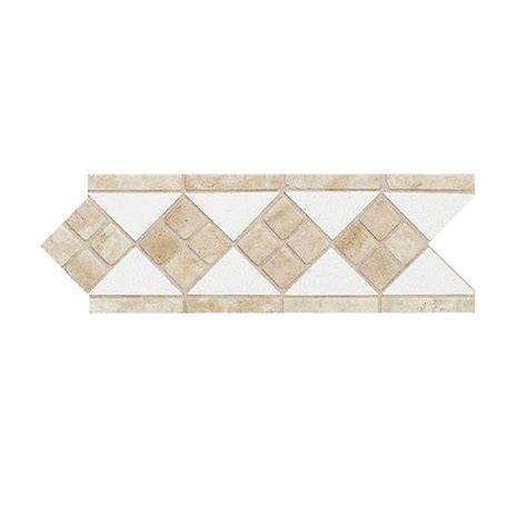 daltile fashion accents travertine arctic white 4 in x 12 in natural stone listello wall tile