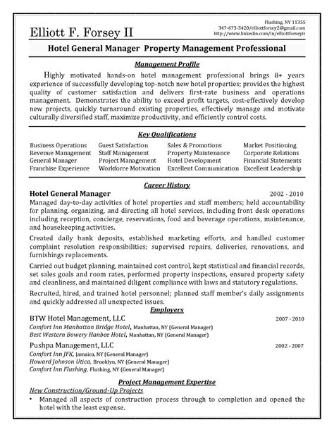 resume format for hotel management hotel general manager resume template learnhowtoloseweight net