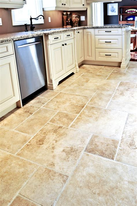 square and rectangle tile kitchen floor with white