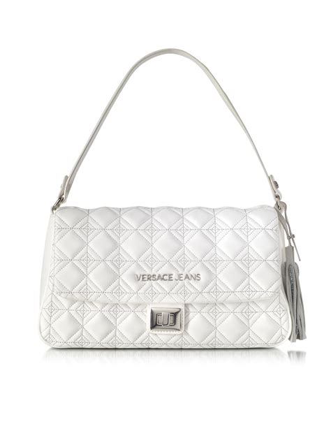 Versace Embroidered Shoulder Bag by Versace White Quilted And Embroidered Shoulder Bag